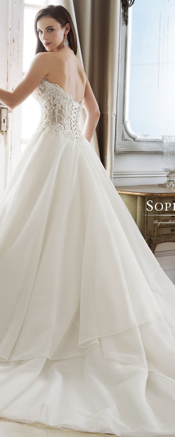 Sophia Tolli sweetheart strapless bridal gown back view