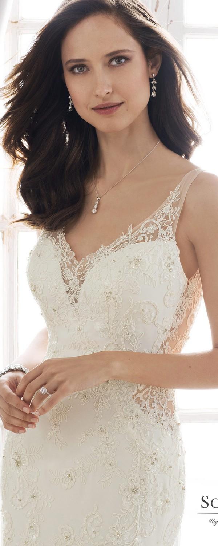 Sophia Tolli v neck wedding dress detail view