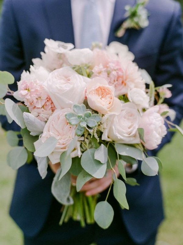 Succulent, peony and eucalyptus wedding bouquet ideas