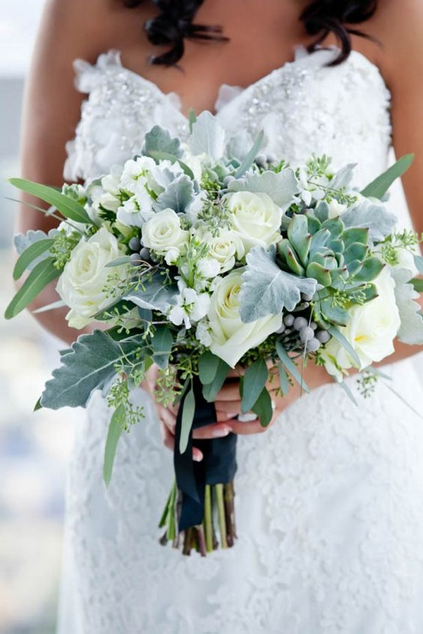beautiful wedding bouquet with succulents