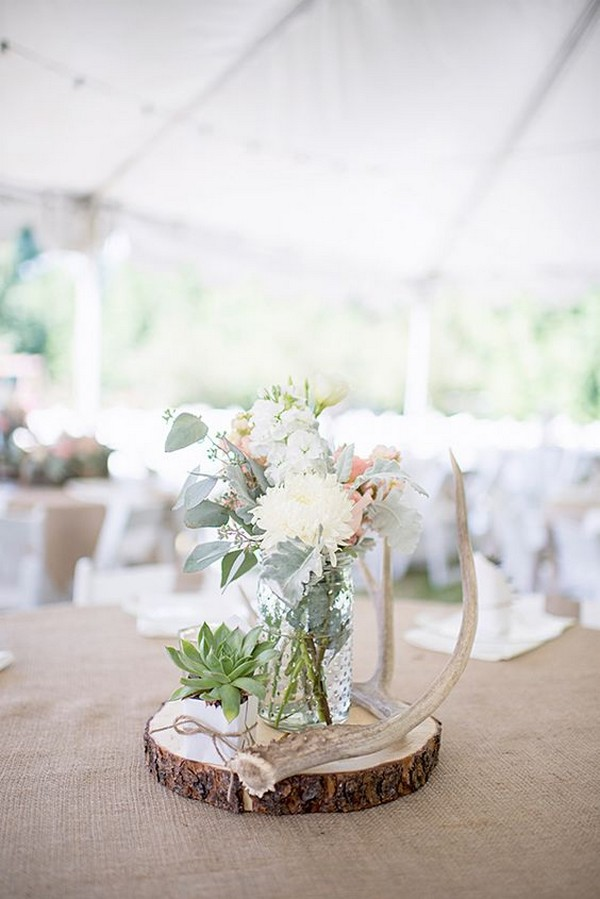boho tree stump wedding centerpiece ideas