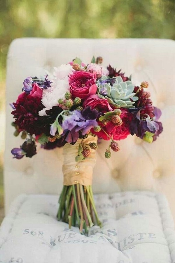 burugndy and purple fall wedding bouquet with succulents