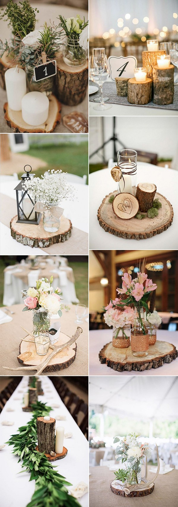country rustic wedding centerpiece ideas with tree stumps