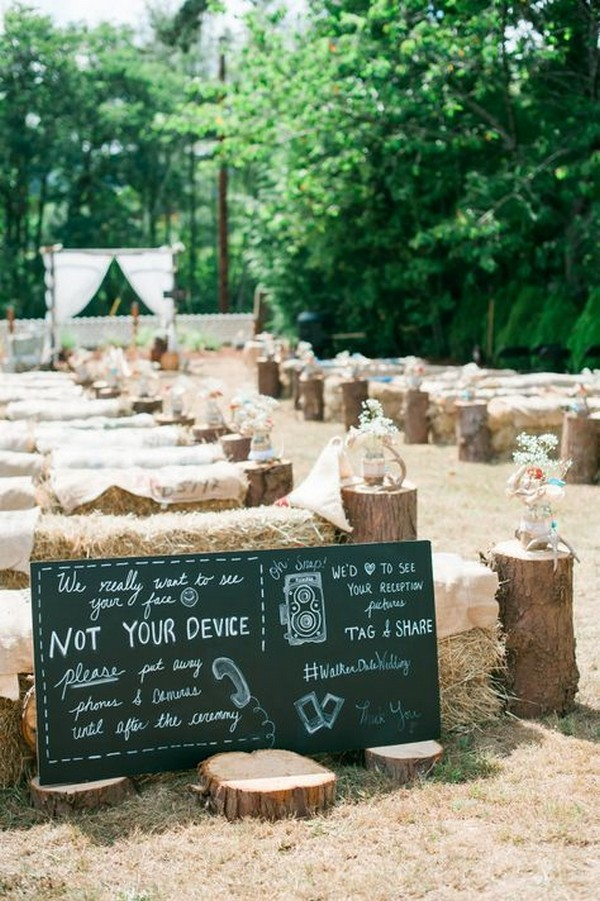 country wedding ceremony decorations ideas with tree stumps