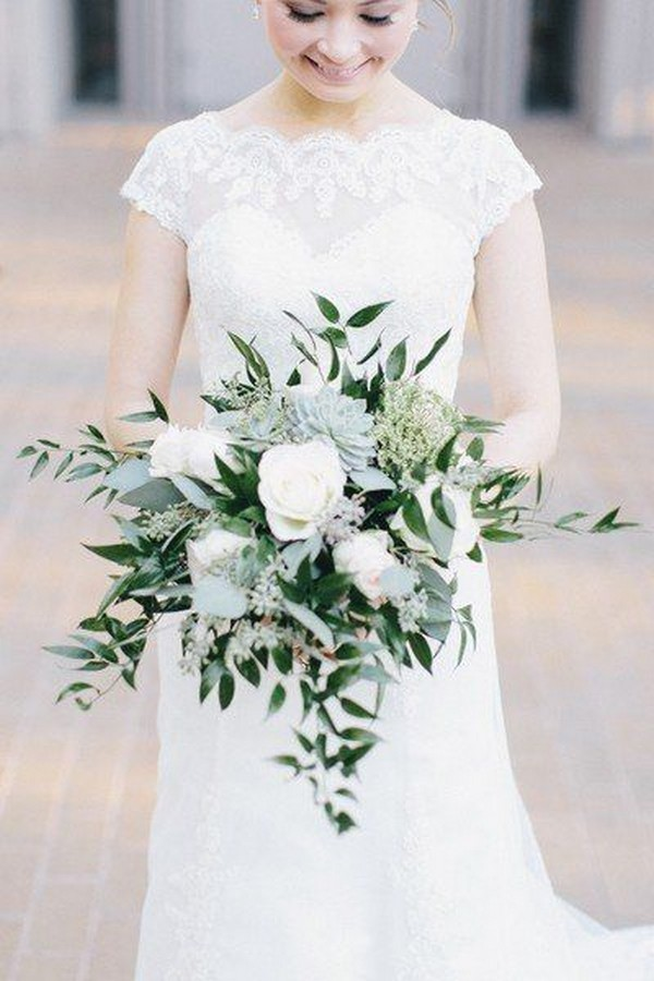 elegant greenery wedding bouquet with succulents