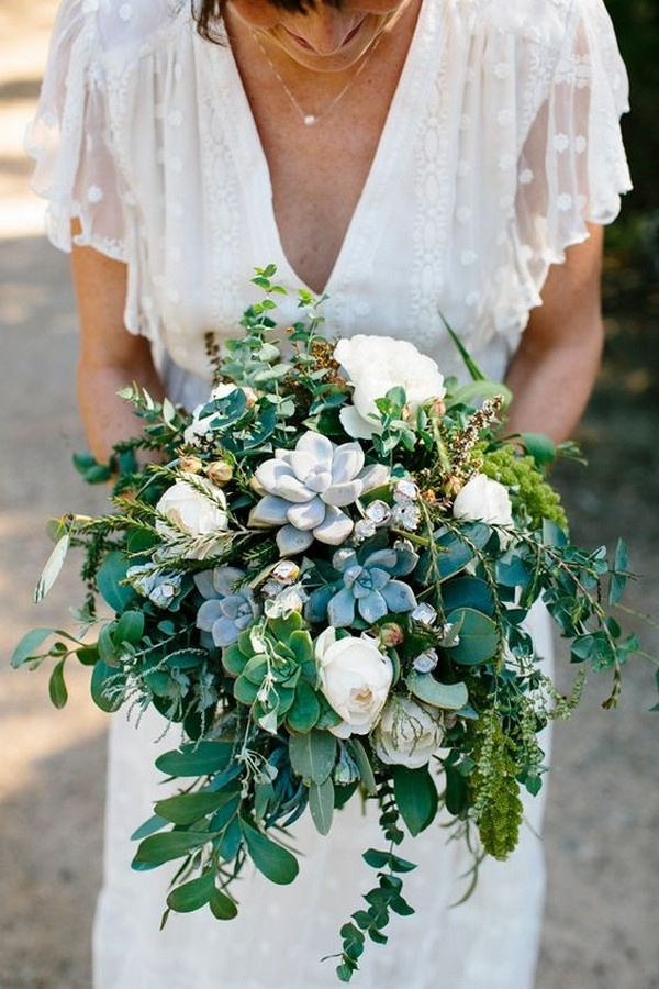 eucalyptus and succulent greenery wedding bouquet for 2018