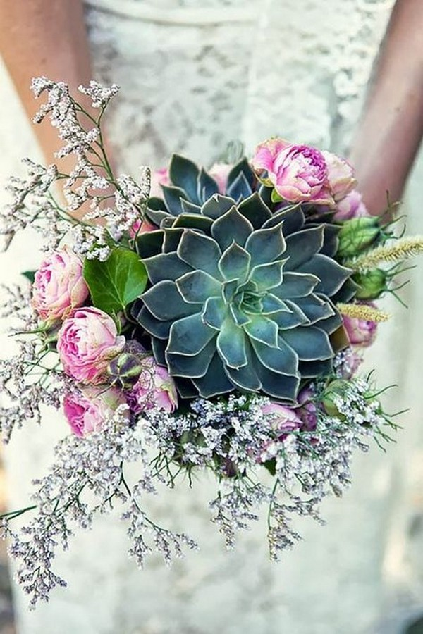 giant succulent wedding bouquet ideas