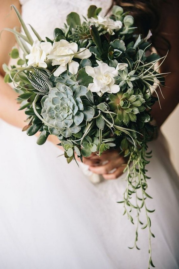 greenery succulents wedding bouquets