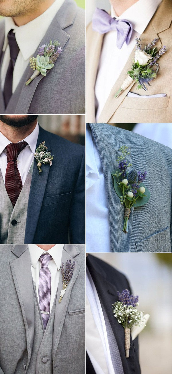lavender themed wedding boutonnieres for 2018