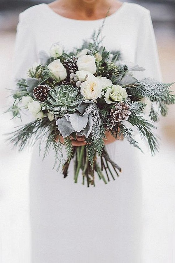 neutral winter wedding bouquet with succulents