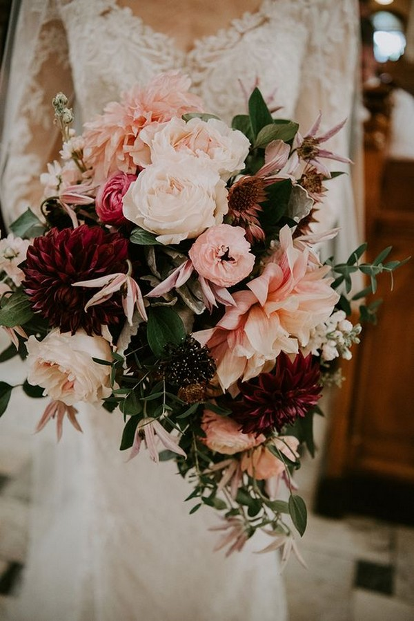 Pink And Burgundy Wedding Bouquet With Succulents