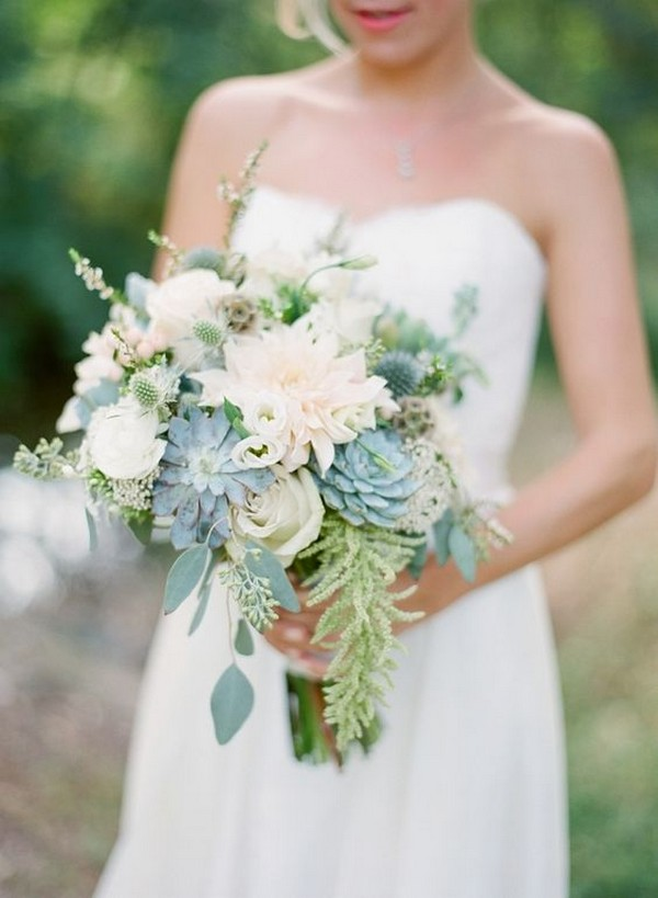 pretty greenery succulent wedding bouquet ideas