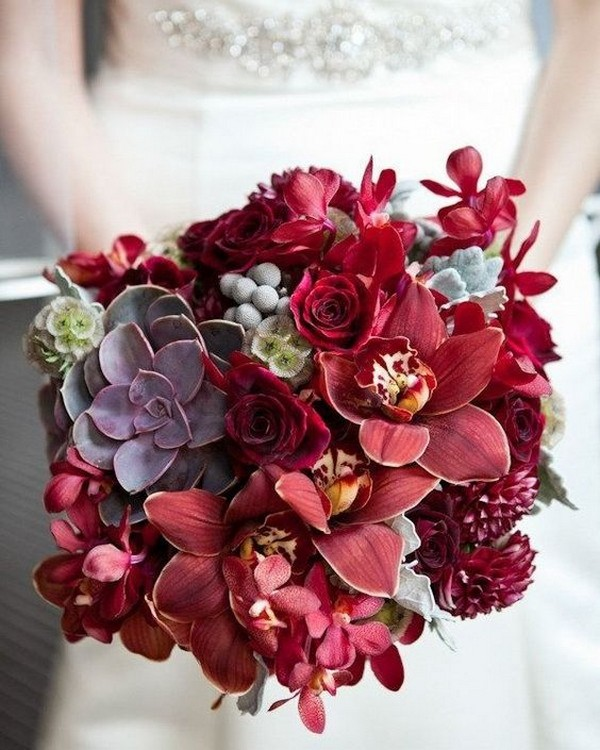 red wedding bouquet with succulents