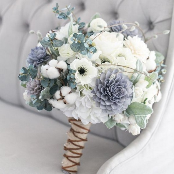 rustic neutral wedding bouquet with succulents