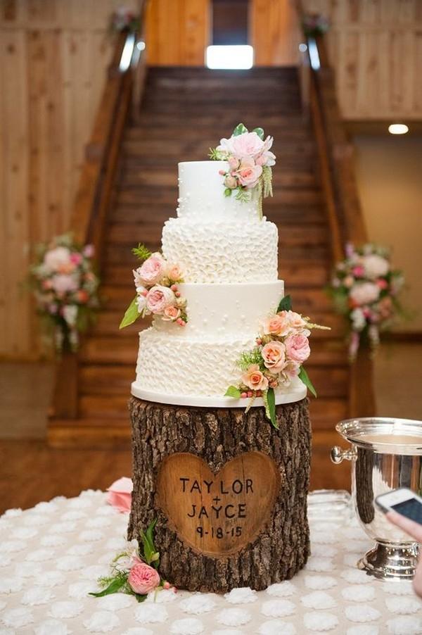 rustic tree stump wedding cake ideas - EmmaLovesWeddings