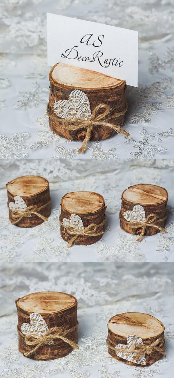 tree stump wedding card holders