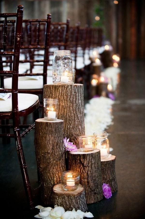 tree stumps wedding aisle decoration ideas