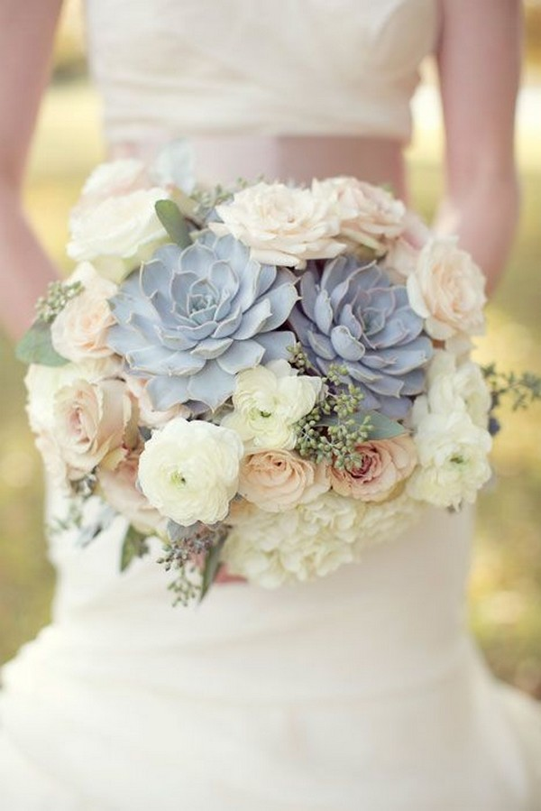 trending succulents wedding bouquet ideas