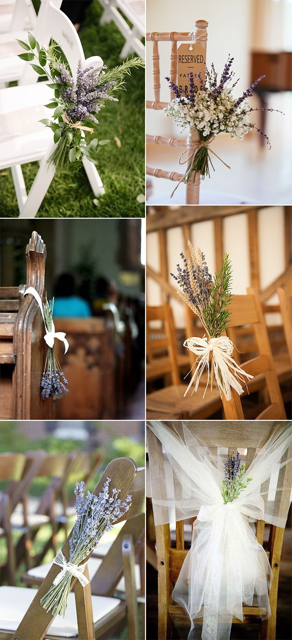 wedding aisle chair decorations with lavender