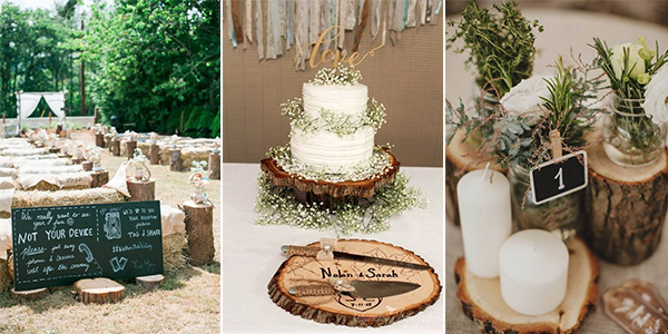 wedding ideas with tree stumps