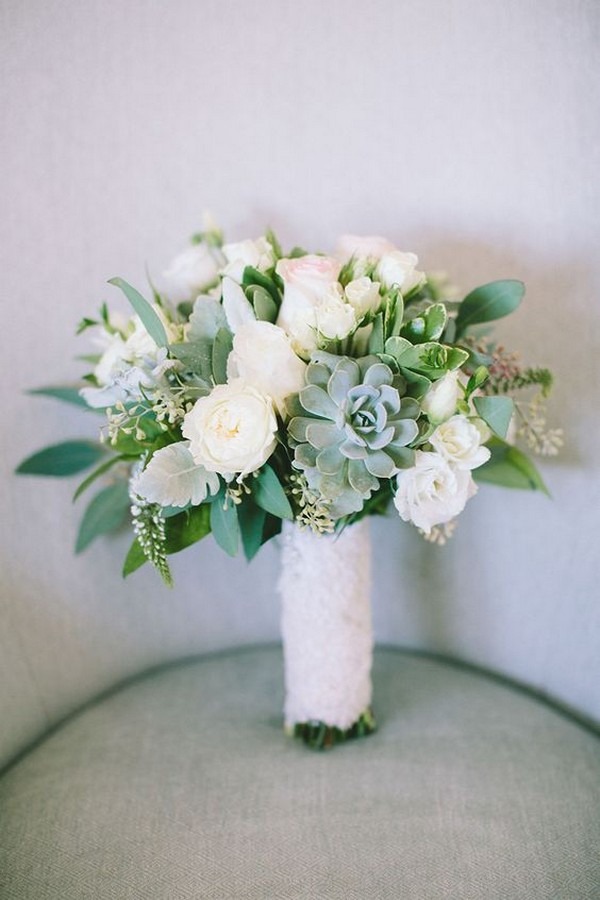 white and green succulents wedding bouquet