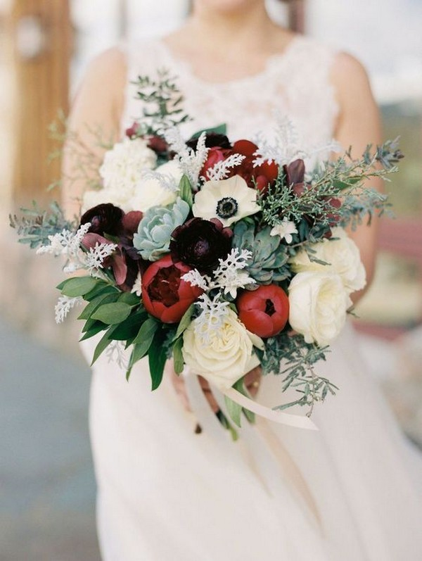 white burgundy and greenery wedding bouquet ideas with succulents