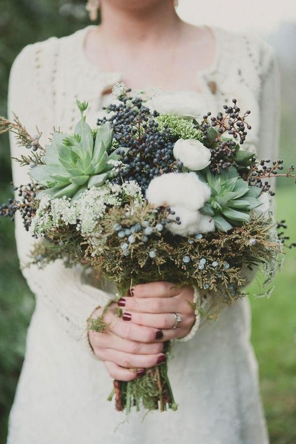 woodsy wedding bouquet ideas with succulents berries and raw cotton