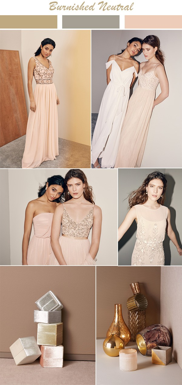 Burnished Neutral bridesmaid dress color palette ideas