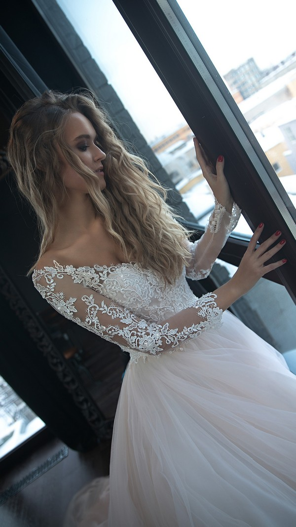Olivia Bottega long lace sleeves off the shoulder wedding dress