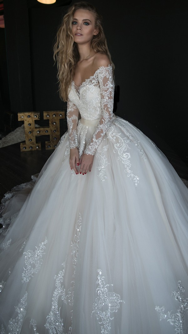 Olivia Bottega off the shoulder wedding ball gown with long lace sleeves