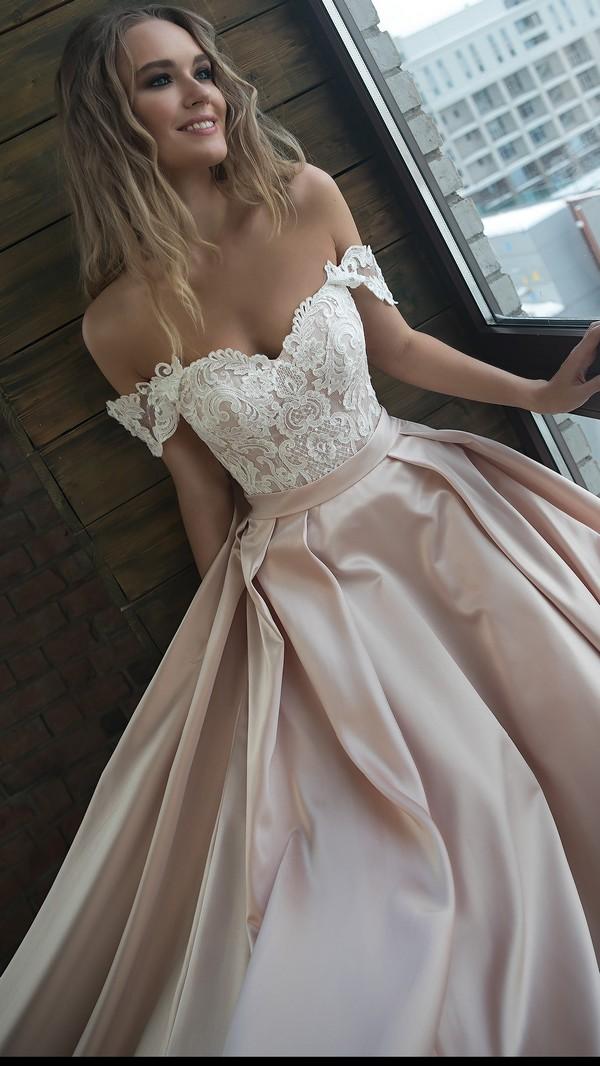 Olivia Bottega off the shoulder wedding dress with lace top