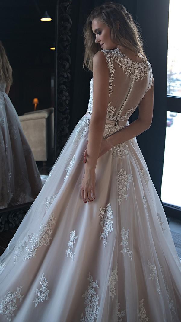 Olivia Bottega v neck lace wedding dress for 2018 back view