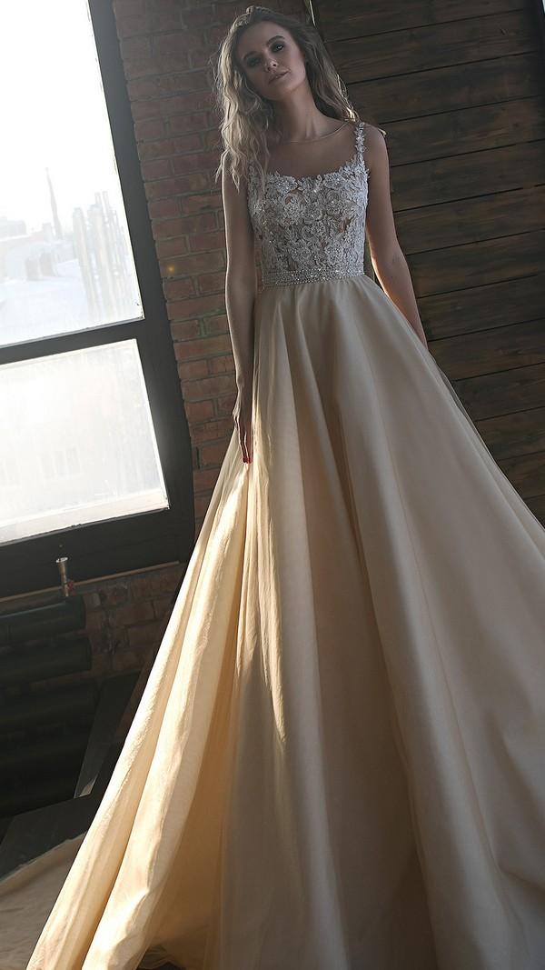 Olivia Bottega vintage beaded illusion neckline wedding dress