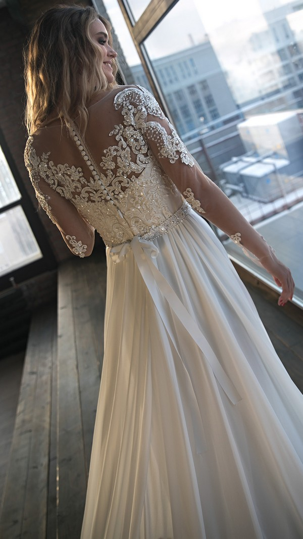 Olivia Bottega vintage beaded wedding dress with long sleeves back view
