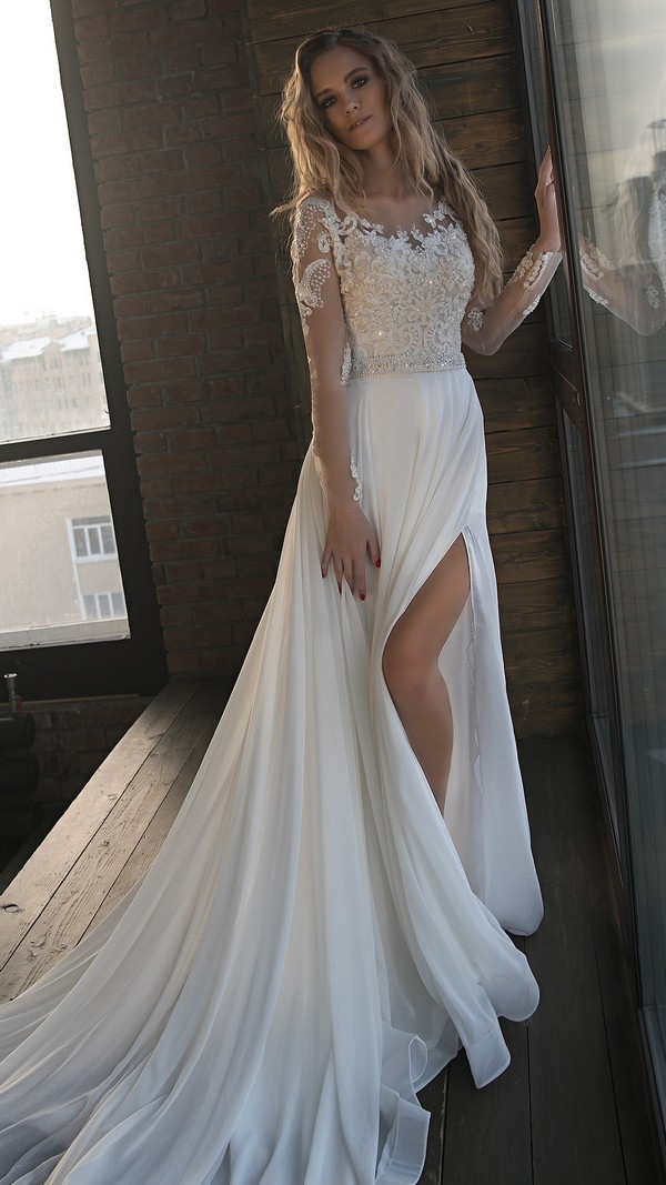 Olivia Bottega vintage beaded wedding dress with long sleeves