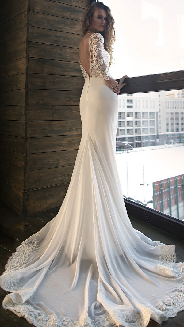 Olivia Bottega wedding dress with long lace sleeves back view