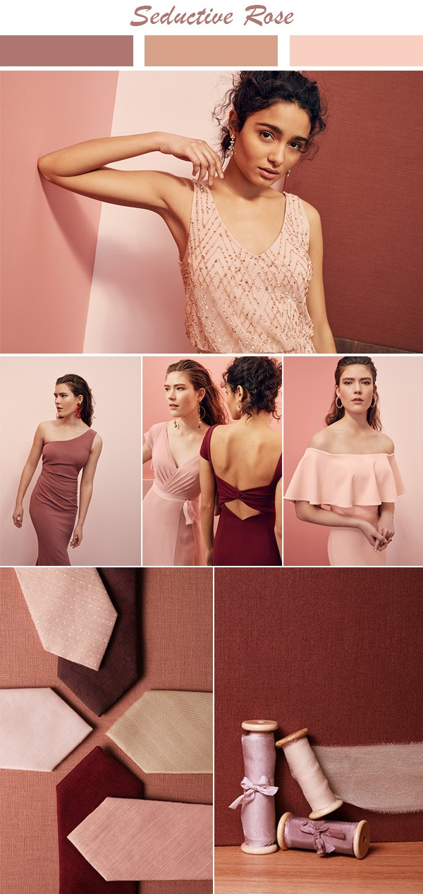Seductive Rose shades bridesmaid dress color inspiration