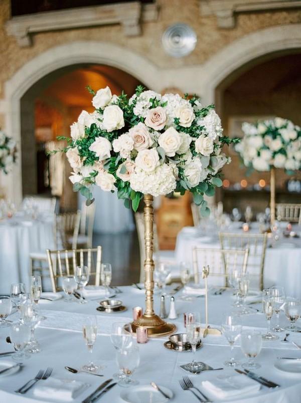 blush green and white tall wedding centerpiece ideas