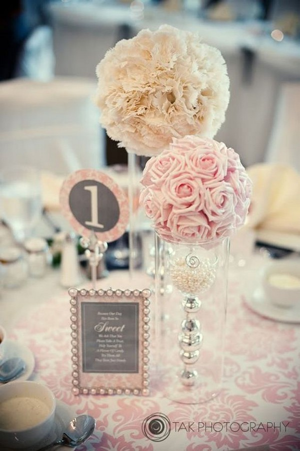 blush pink and ivory tall wedding centerpieces - EmmaLovesWeddings