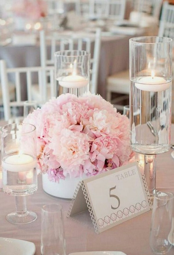 Blush Pink Elegant Wedding Centerpiece With Floating Candles