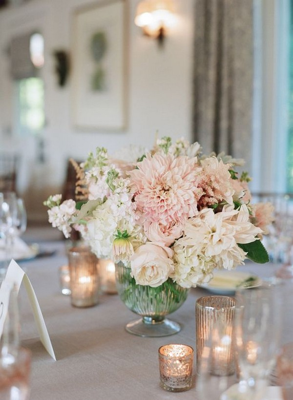 Blush Pink Floral Wedding Centerpieces With Candles