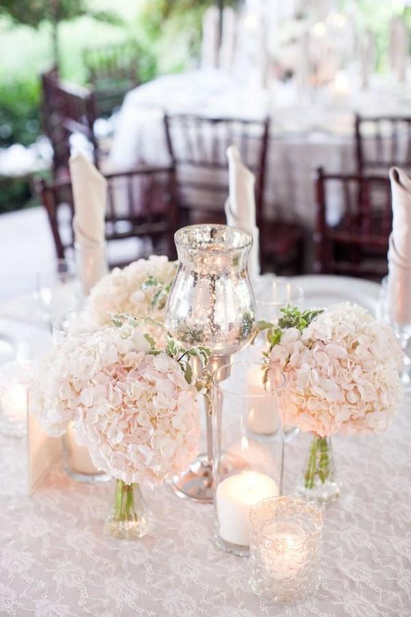 blush pink hydrangeas wedding centerpiece ideas