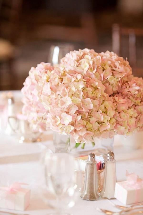 blush pink hydrangeas wedding centerpiece