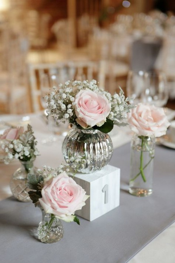 blush pink roses and baby's breath wedding centerpiece