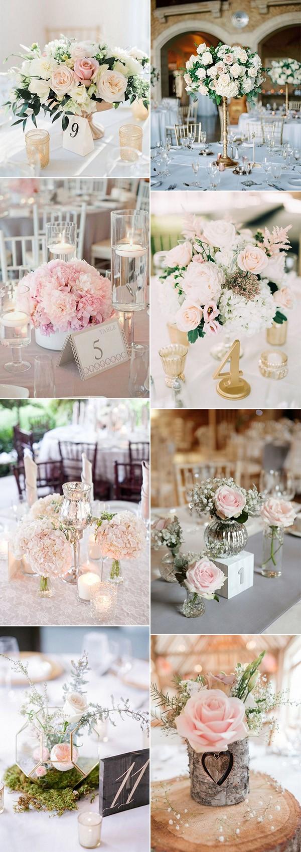 blush pink wedding centerpiece ideas for 2018 trends