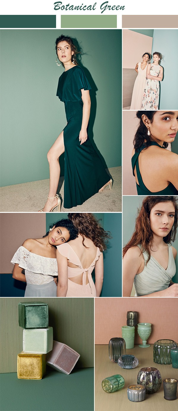 botanical green bridesmaid dress color ideas for 2018