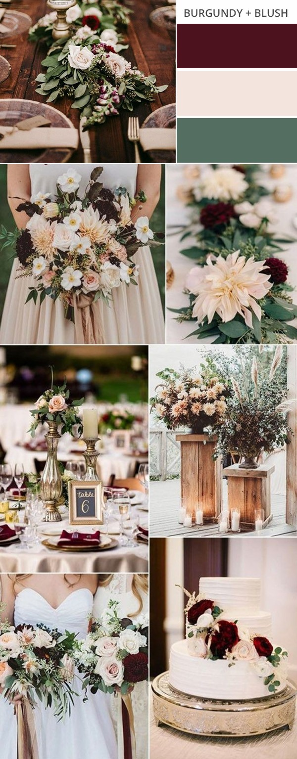 burgundy and blush fall wedding color ideas