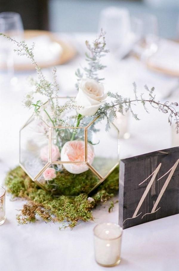 chic modern wedding centerpiece with blush pink floral