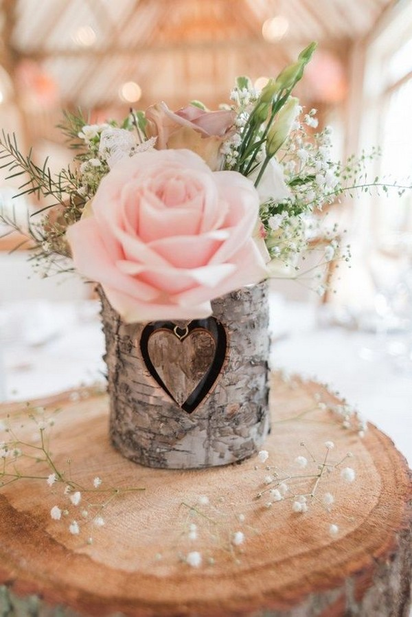 chic rustic wedding centerpiece with blush rose