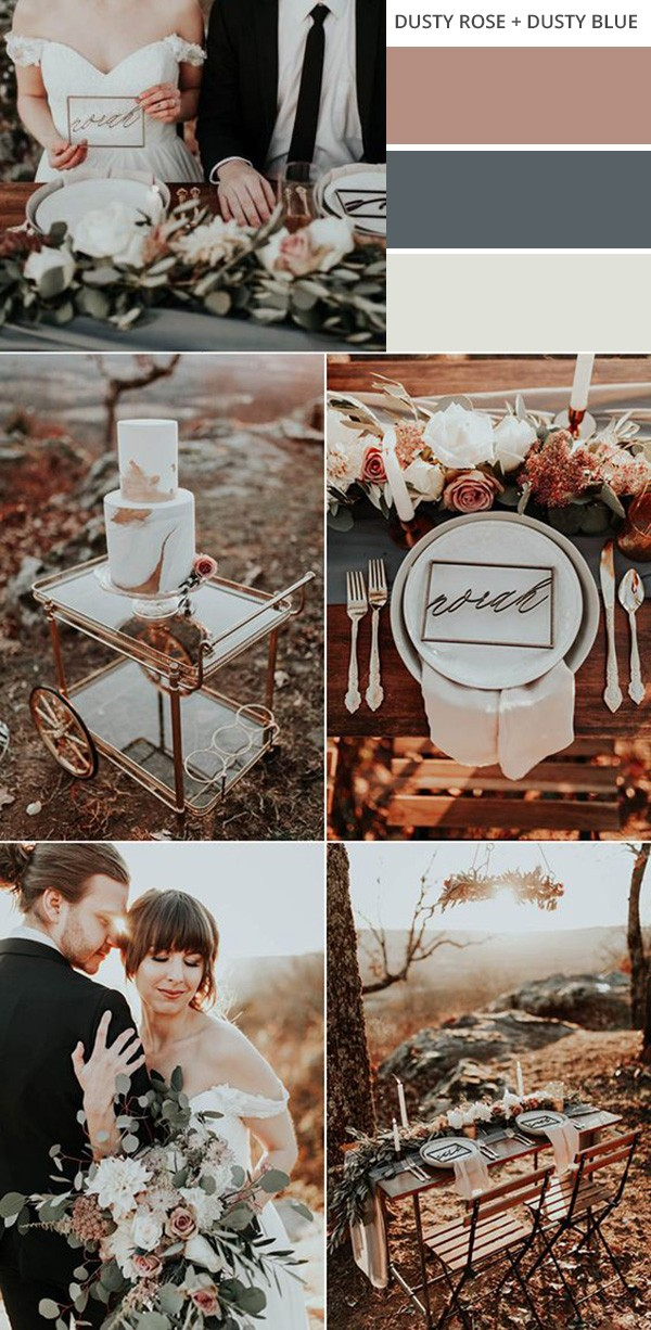 dusty rose and dusty blue fall wedding color ideas